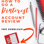 graphic image with notebook, pencil, pen andtext how to do a pinterest review