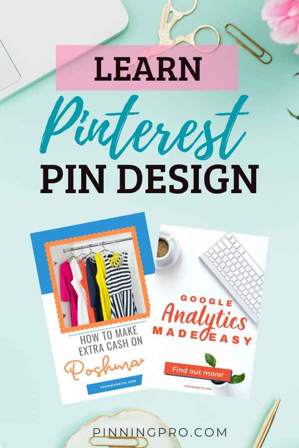 desktop with text overlay and sample pinterest pins