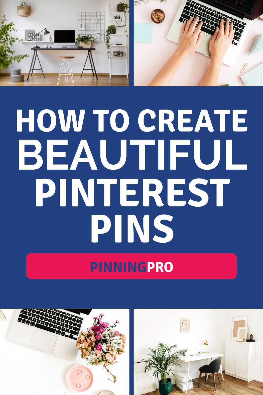 laptop on desk with sample pinterest pins